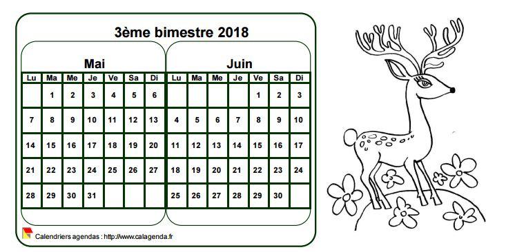 Calendrier 2018 à colorier bimestriel, format paysage, pour enfants
