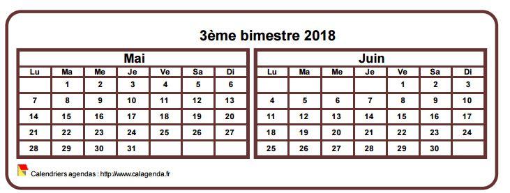 Calendrier 2018 à imprimer bimestriel, format mini de poche, horizontal, fond blanc