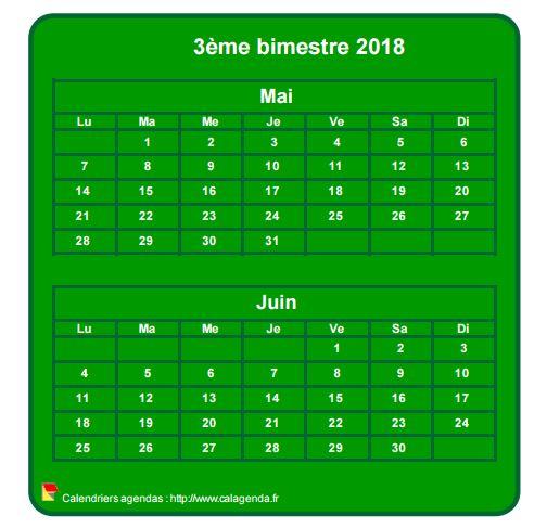 Calendrier 2018 à imprimer bimestriel, format mini de poche, vertical, fond vert