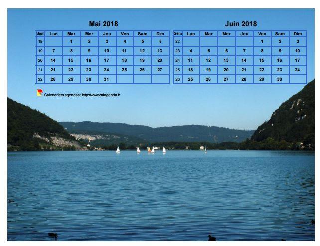 Calendrier 2018 décoratif à imprimer, bimestriel, format paysage, incrusté sur la partie haute d'une photo