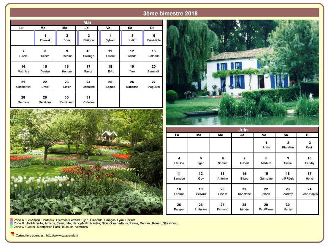 Calendrier 2018 bimestriel avec une photo différente chaque mois