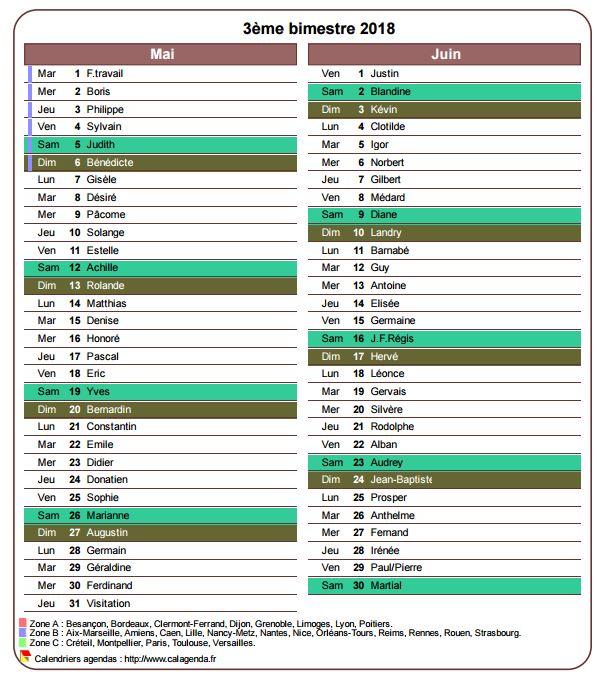 Calendrier 2018 bimestriel avec agenda détaillé, format portrait, une colonne par mois