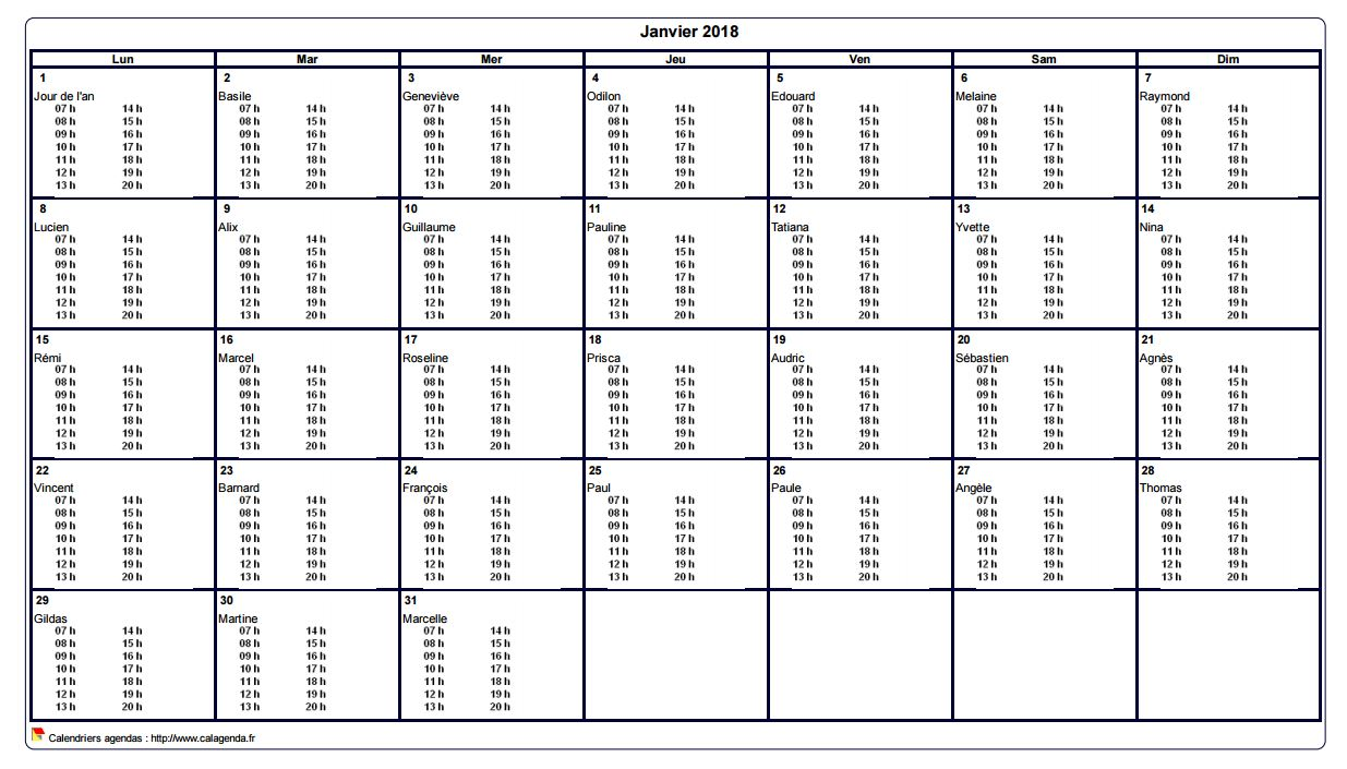 Turbo mensuel 2018 à imprimer vierge, avec les horaires dans chaque case XS46