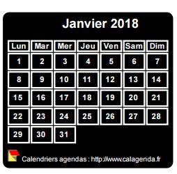 Calendrier mensuel 2018 à imprimer, fond noir, taille mini, format poche, spécial portefeuille