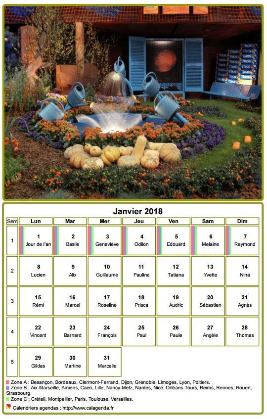 Calendrier 2018 à imprimer, mensuel, avec photographie au dessus