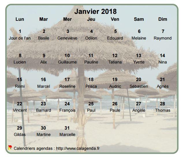 Calendrier mensuel 2018 à imprimer, en transparence sur une photo