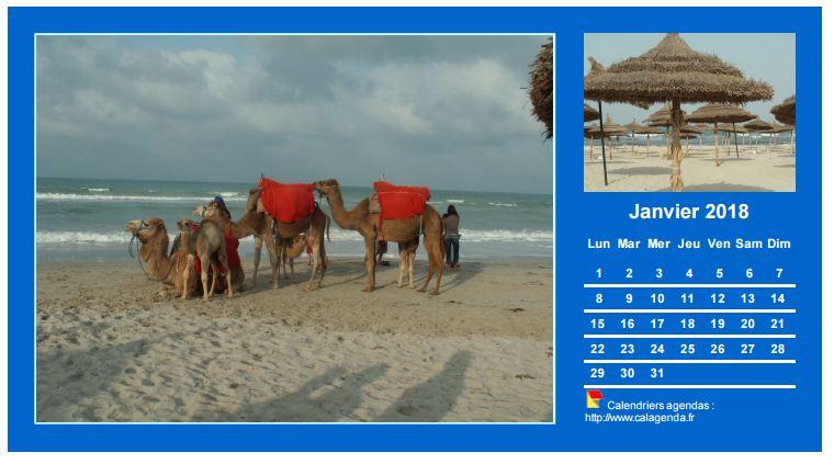 Calendrier mensuel 2018 avec deux photos