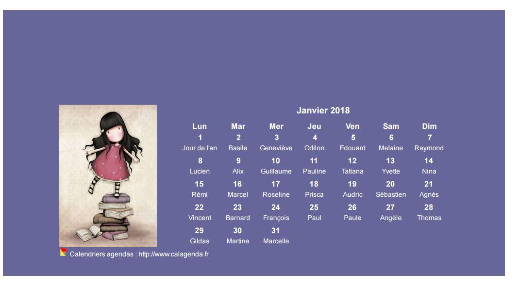 Calendrier mensuel 2018 Gorjuss