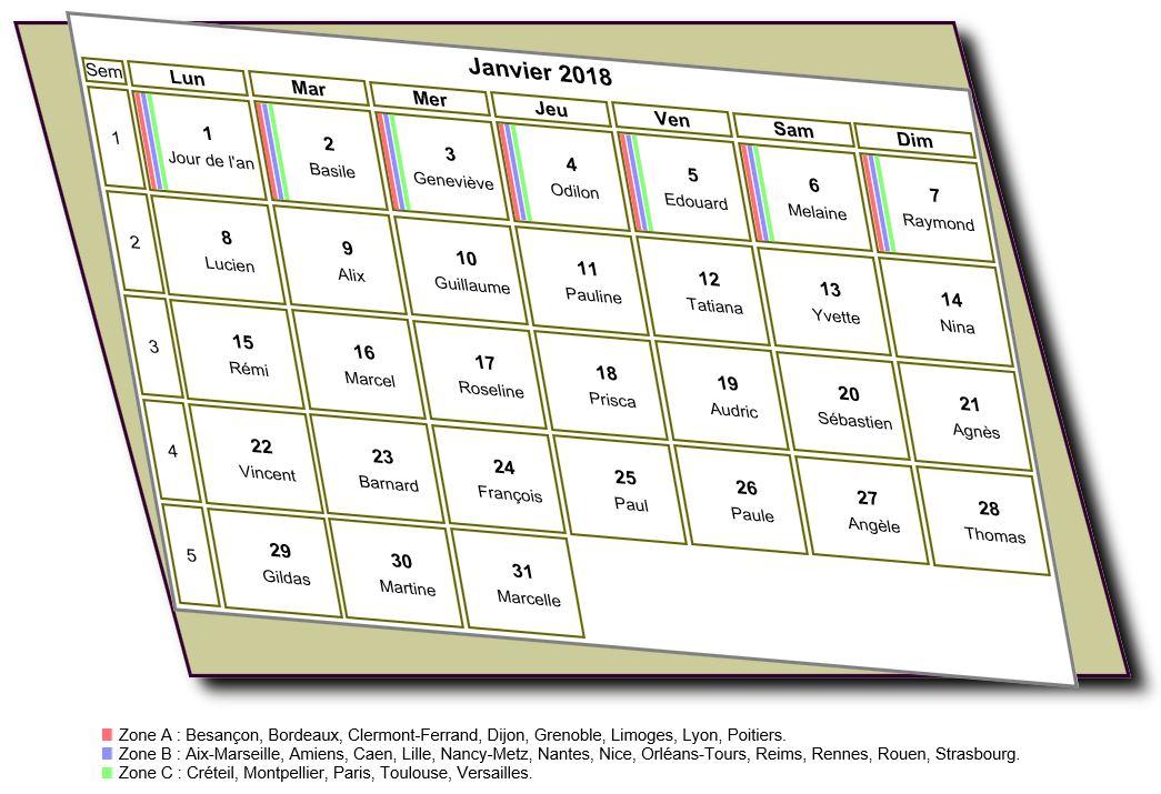 Calendrier mensuel 2018 à imprimer, style 3D