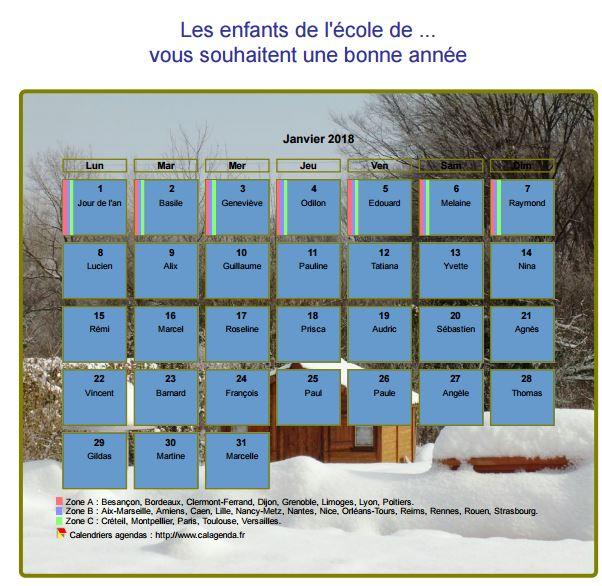 Calendrier 2018 agenda mensuel artistique avec photo et légende, paysage hivernal
