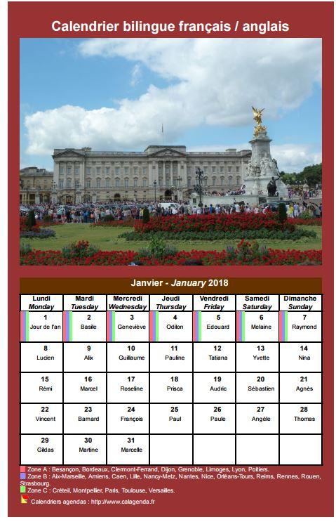 Calendrier mensuel 2018 bilingue français / anglais.