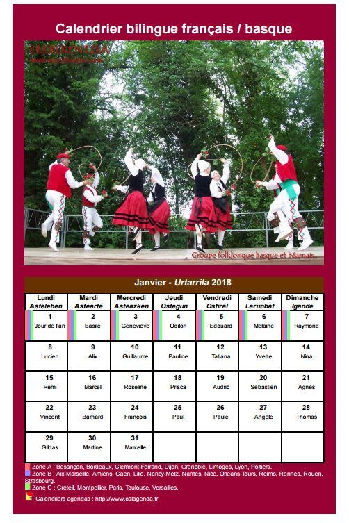 Calendrier Prenoms.Calendrier Mensuel 2018 Basque