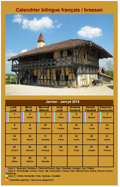 Calendrier mensuel 2018 en patois bressan