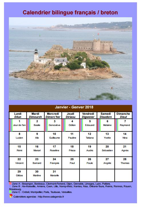 Calendrier mensuel 2018 breton