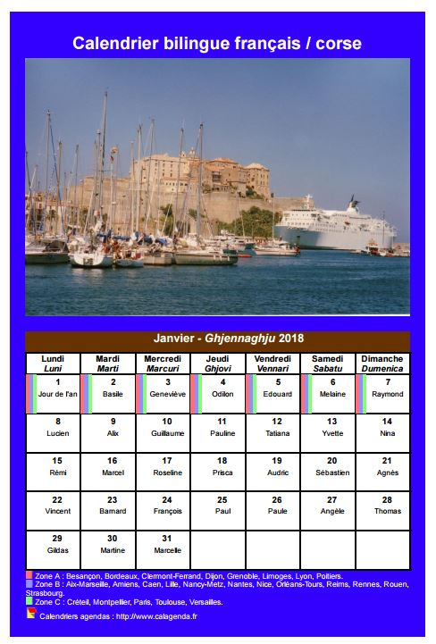 Calendrier mensuel 2018 corse