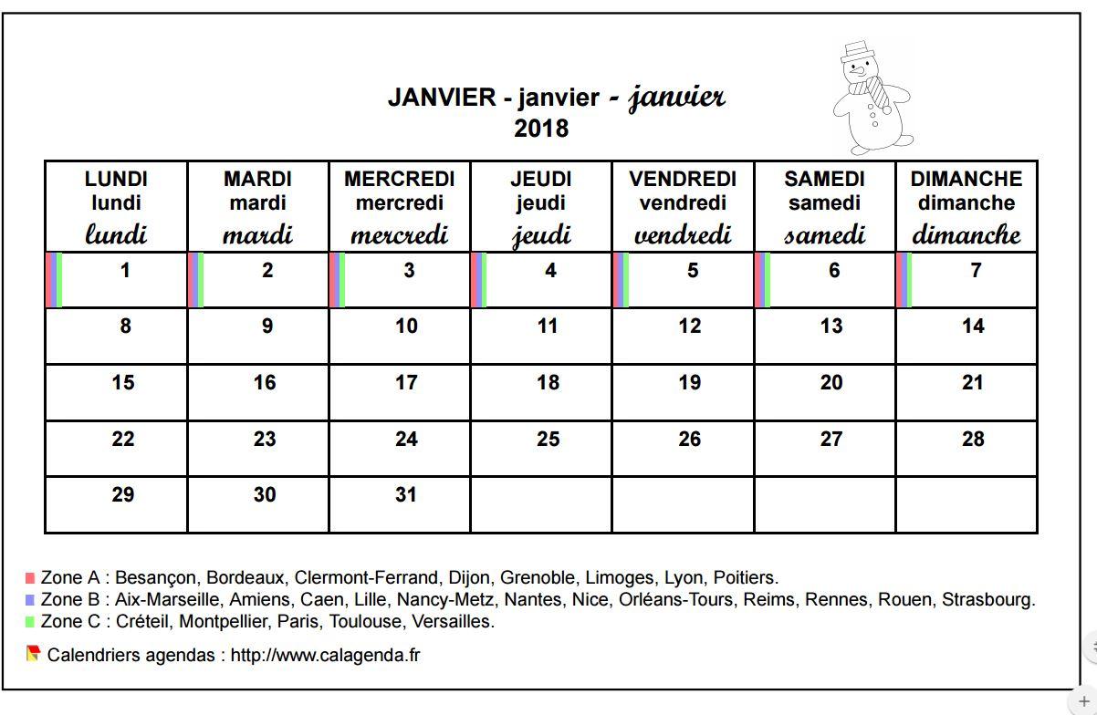 Calendrier mensuel 2018 école primaire et maternelle