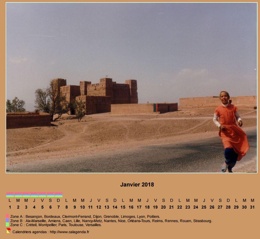 Calendrier mensuel 2018 horizontal avec photo