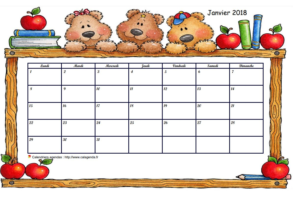 Calendrier mensuel 2018 école maternelle