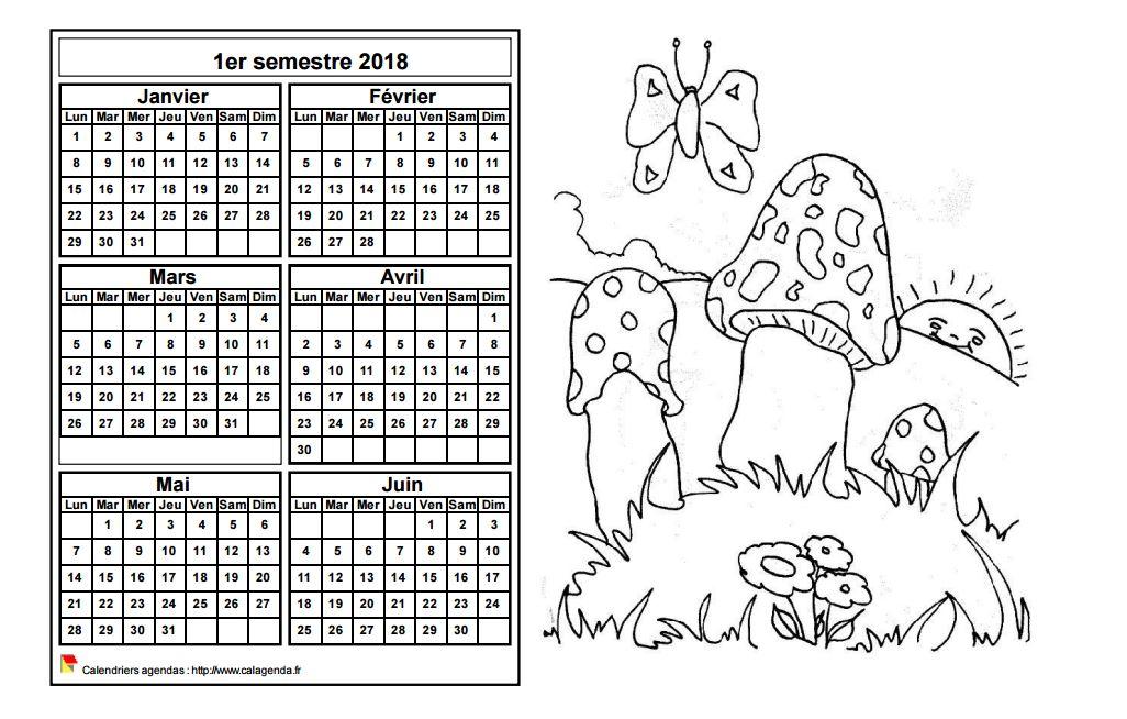 Calendrier 2018 à colorier semestriel, format paysage, pour enfants