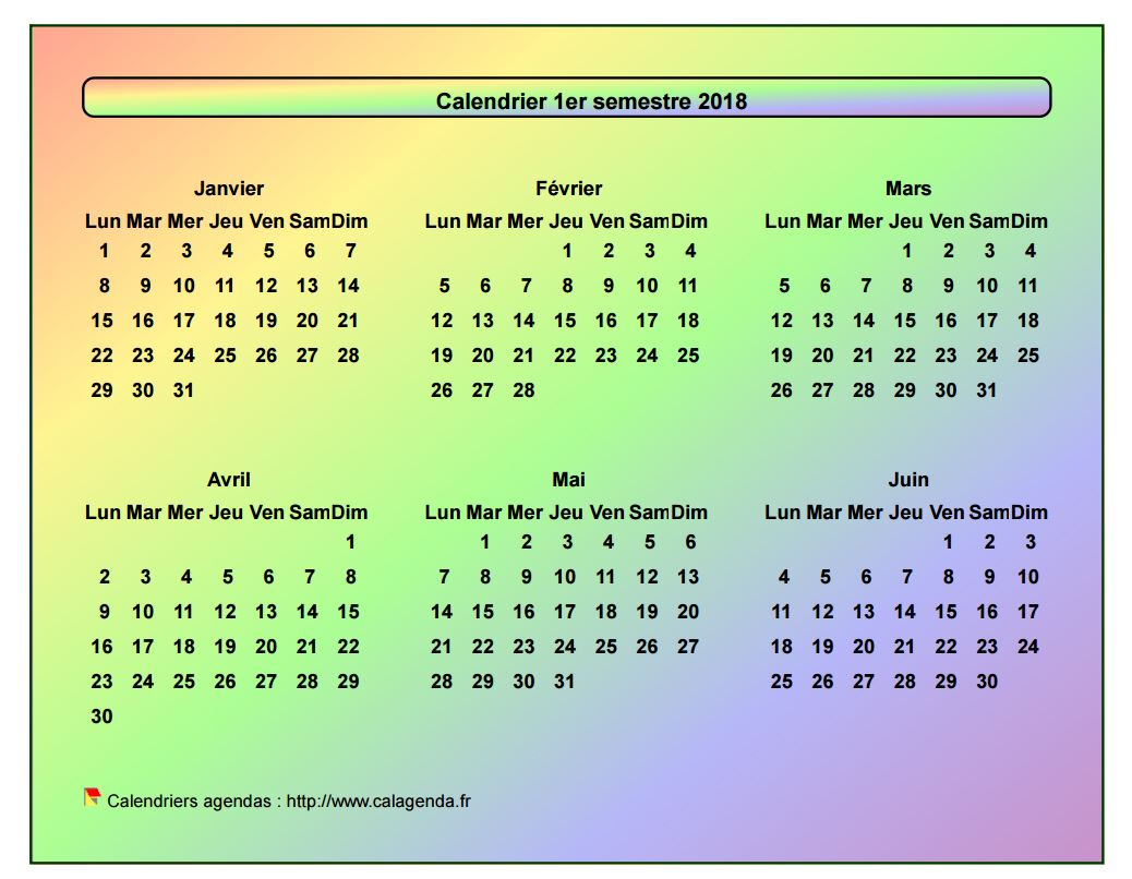 Calendrier 2018 semestriel style arc en ciel