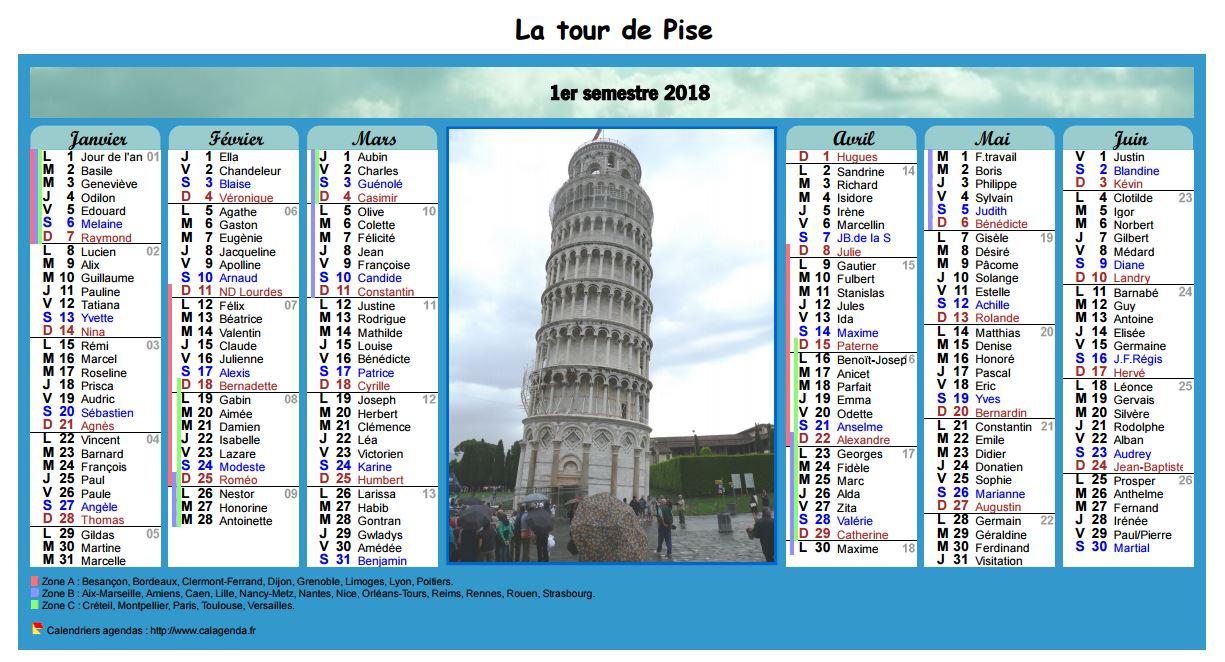 Calendrier 2018 semestriel en colonnes avec photo au centre