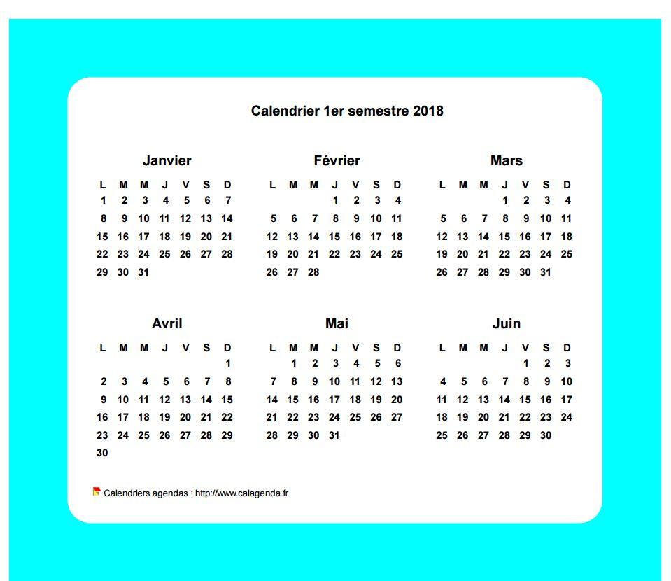 Calendrier 2018 semestriel avec bordure