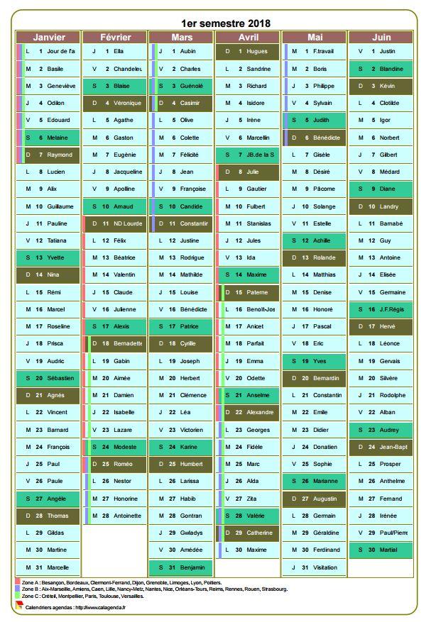 Modèle par défaut du calendrier agenda semestriel, une colonne par mois