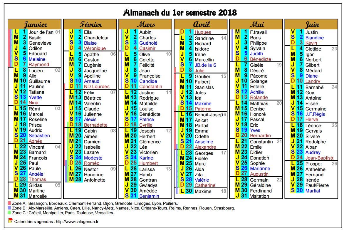Calendrier 2018 semestriel six colonnes de format paysage