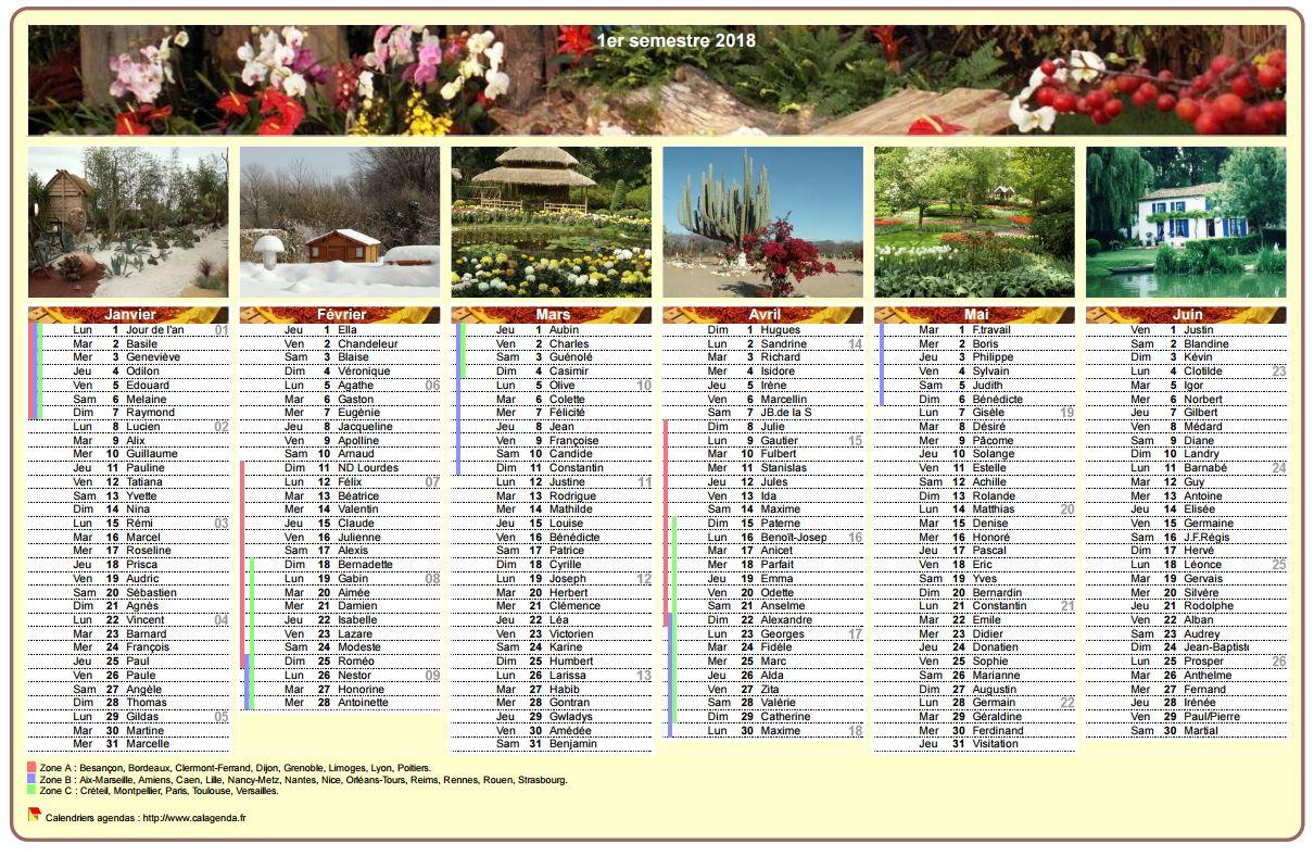 Calendrier 2018 semestriel en colonnes avec une photo différente chaque mois