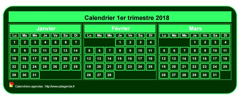 Calendrier 2018 à imprimer trimestriel, format mini de poche, fond vert