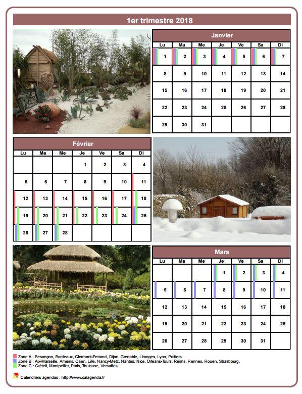 Calendrier 2018 trimestriel avec une photo différente chaque mois