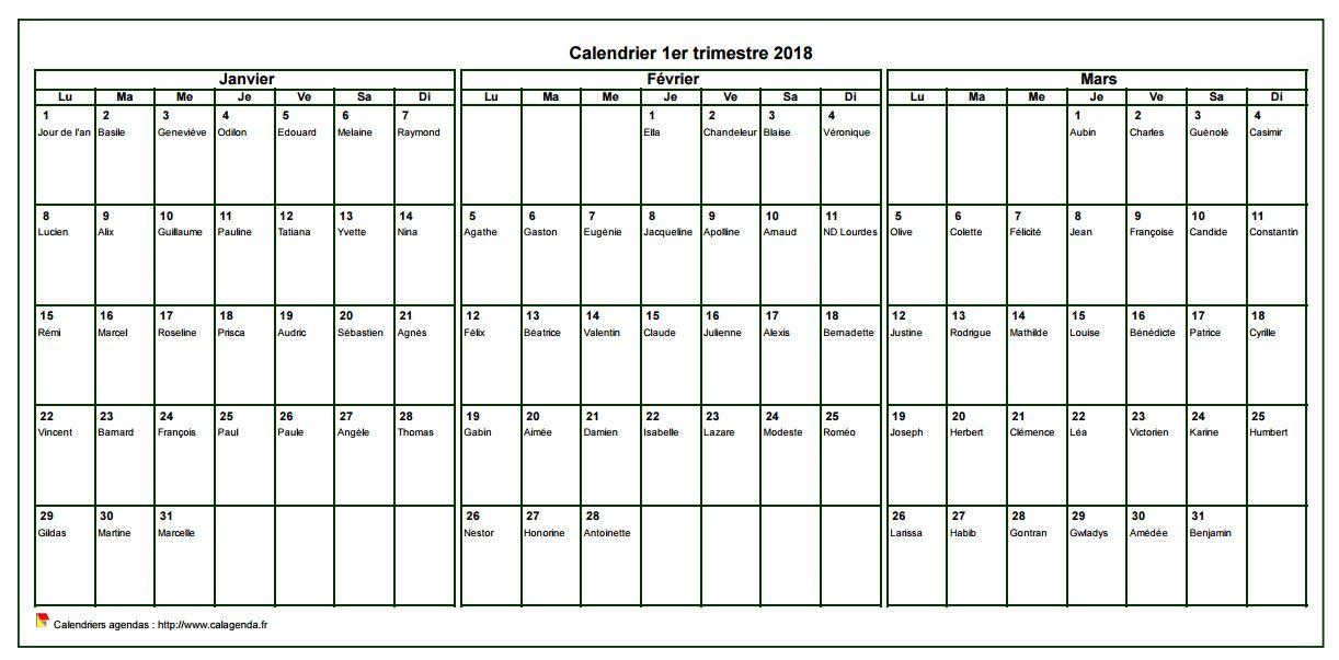 Calendrier 2018 à imprimer trimestriel, format paysage, avec les fêtes