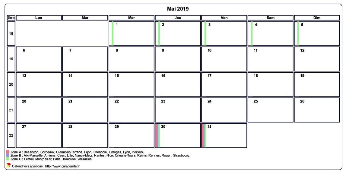Calendrier Mai2019.Calendrier Mai 2019