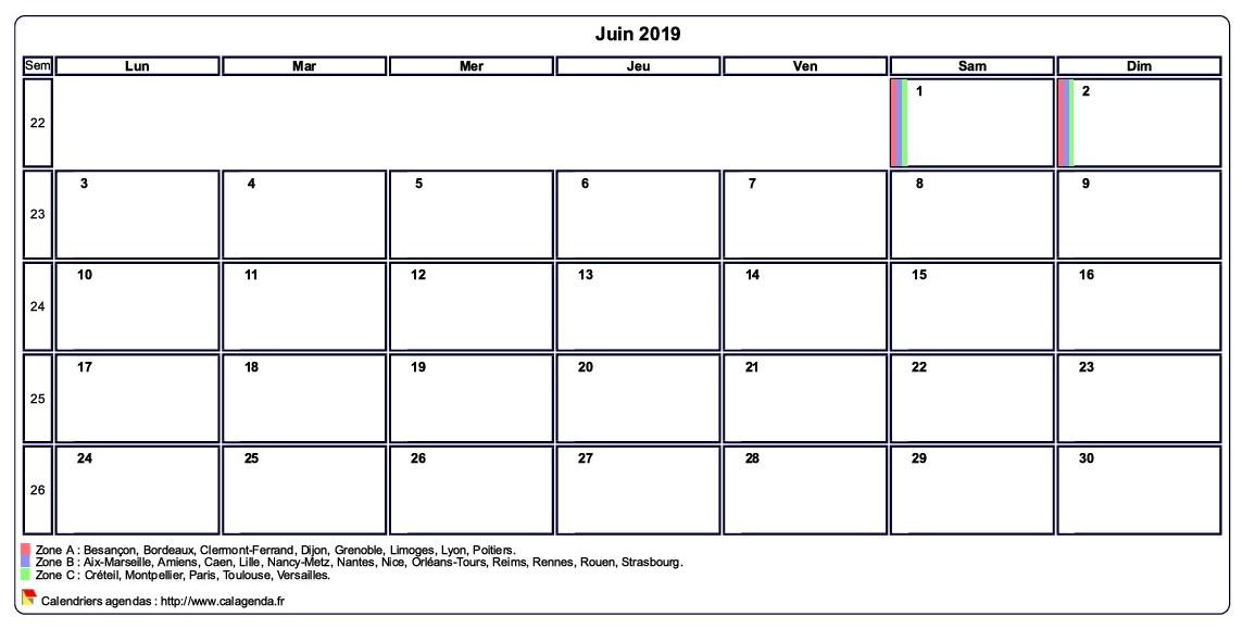 Calendrier Mensuel Juin 2019.Calendrier Juin 2019