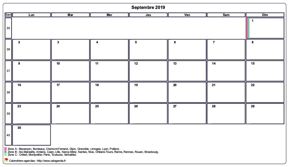 Calendrier septembre 2019 personnalisable avec les vacances scolaires