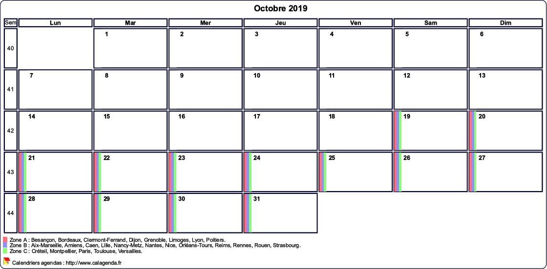 Calendrier octobre 2019