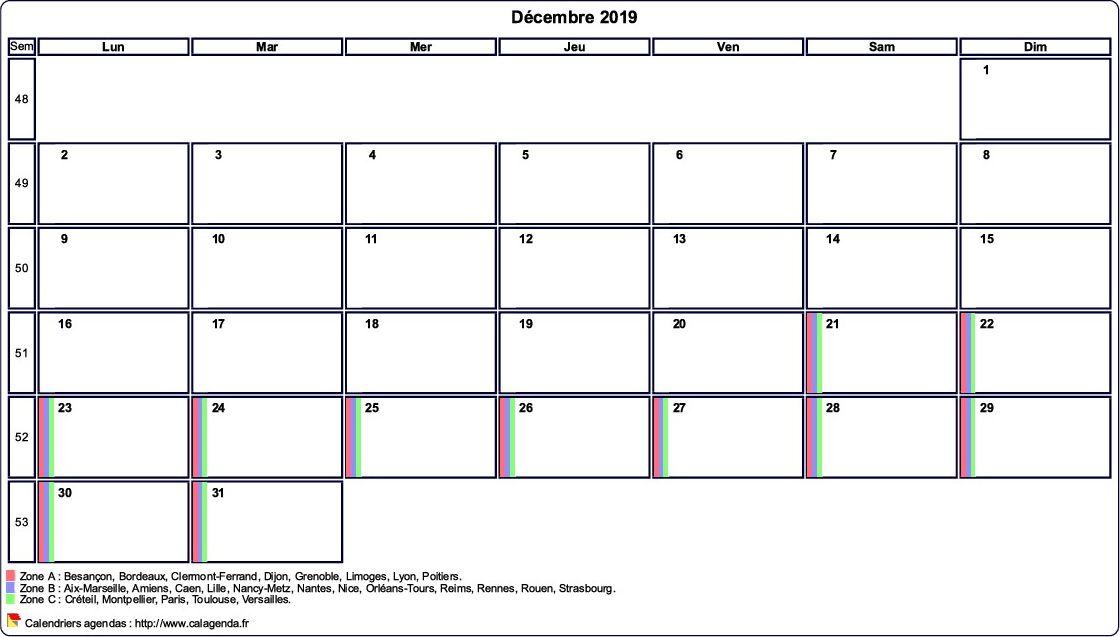 Calendrier Mensuel Decembre 2019.Calendrier Decembre 2019