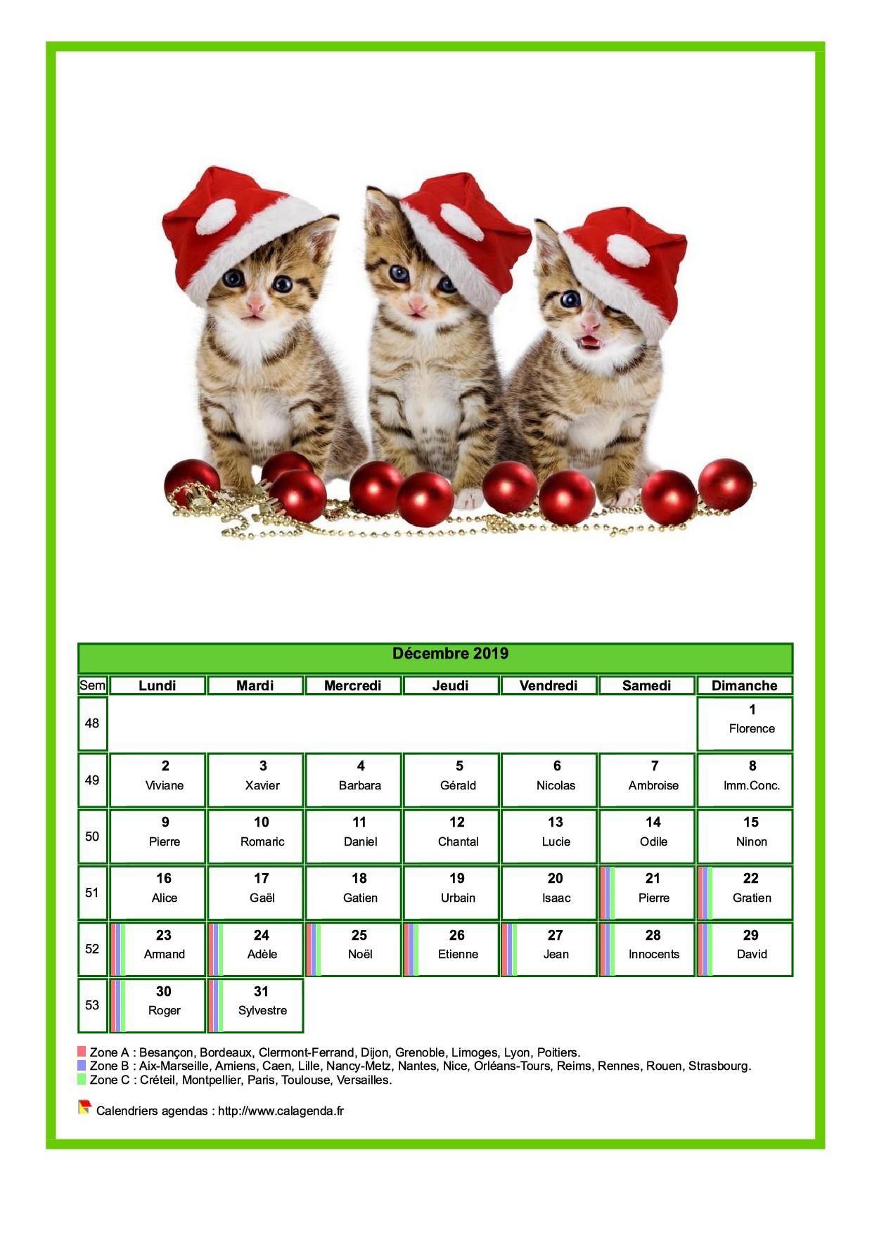 Calendrier Mensuel Decembre 2019.Calendrier Decembre 2019 Chats