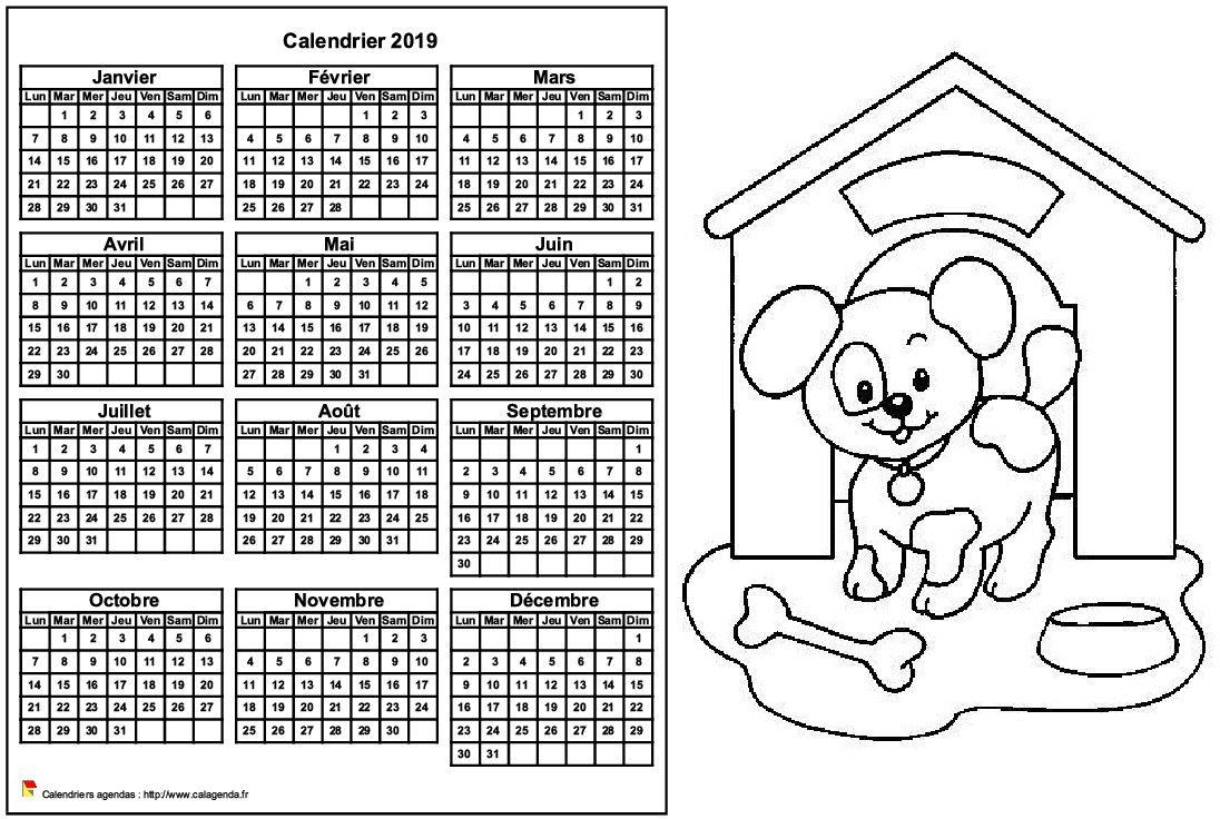 Calendrier 2019 A Colorier Annuel Format Paysage Pour Enfants