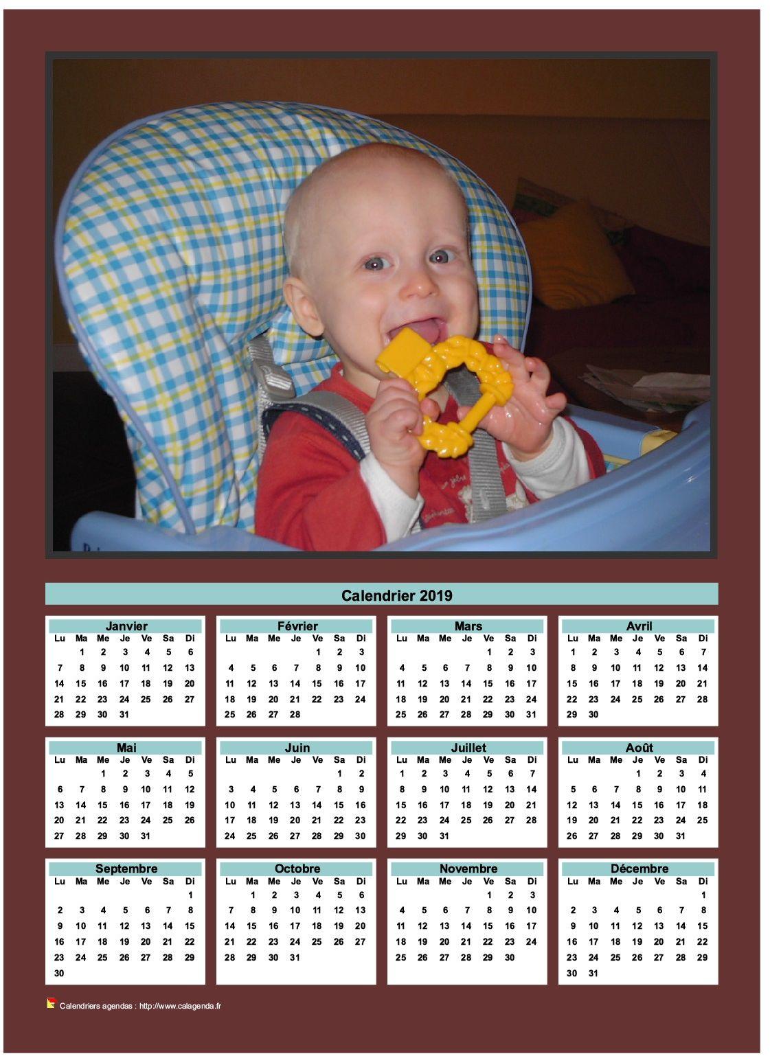 Calendrier annuel à imprimer avec photo de famille
