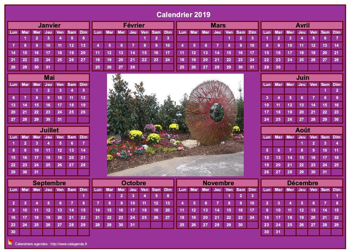 Calendrier 2019 photo annuel à imprimer, fond rose, format paysage, sous-main ou mural