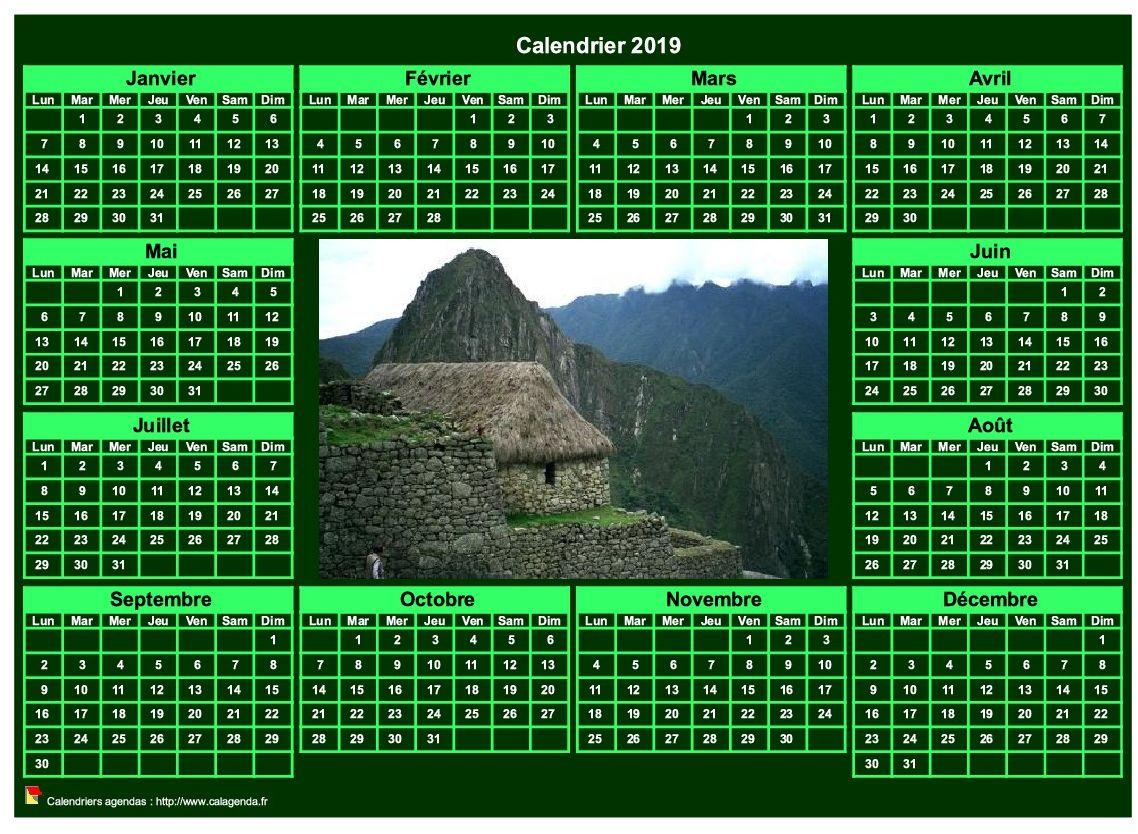 Calendrier 2019 photo annuel à imprimer, fond vert, format paysage