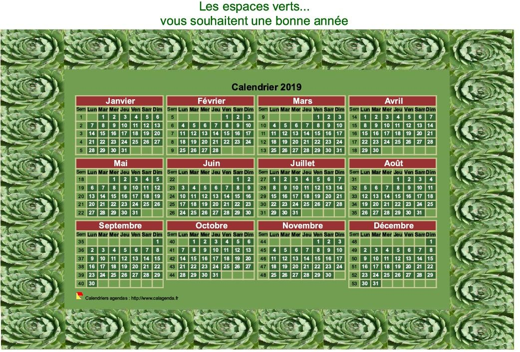 Calendrier 2019 décoratif annuel à imprimer, avec cadre photo vert