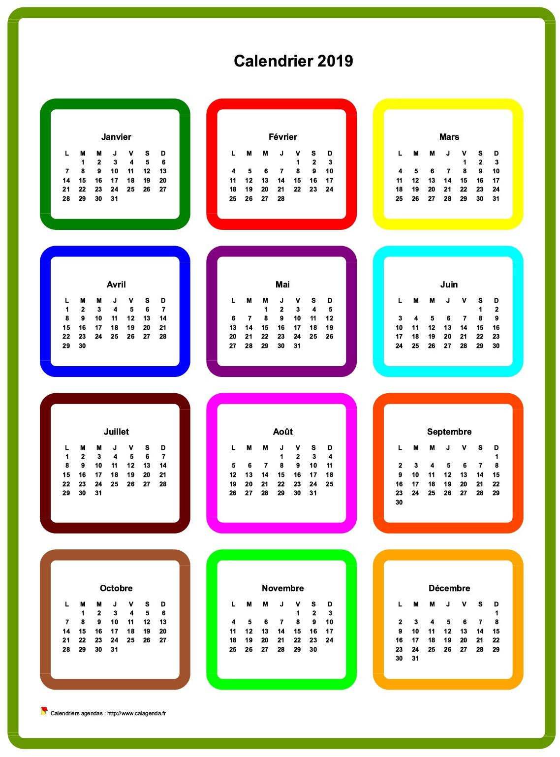 Calendrier 2019 annuel en couleurs