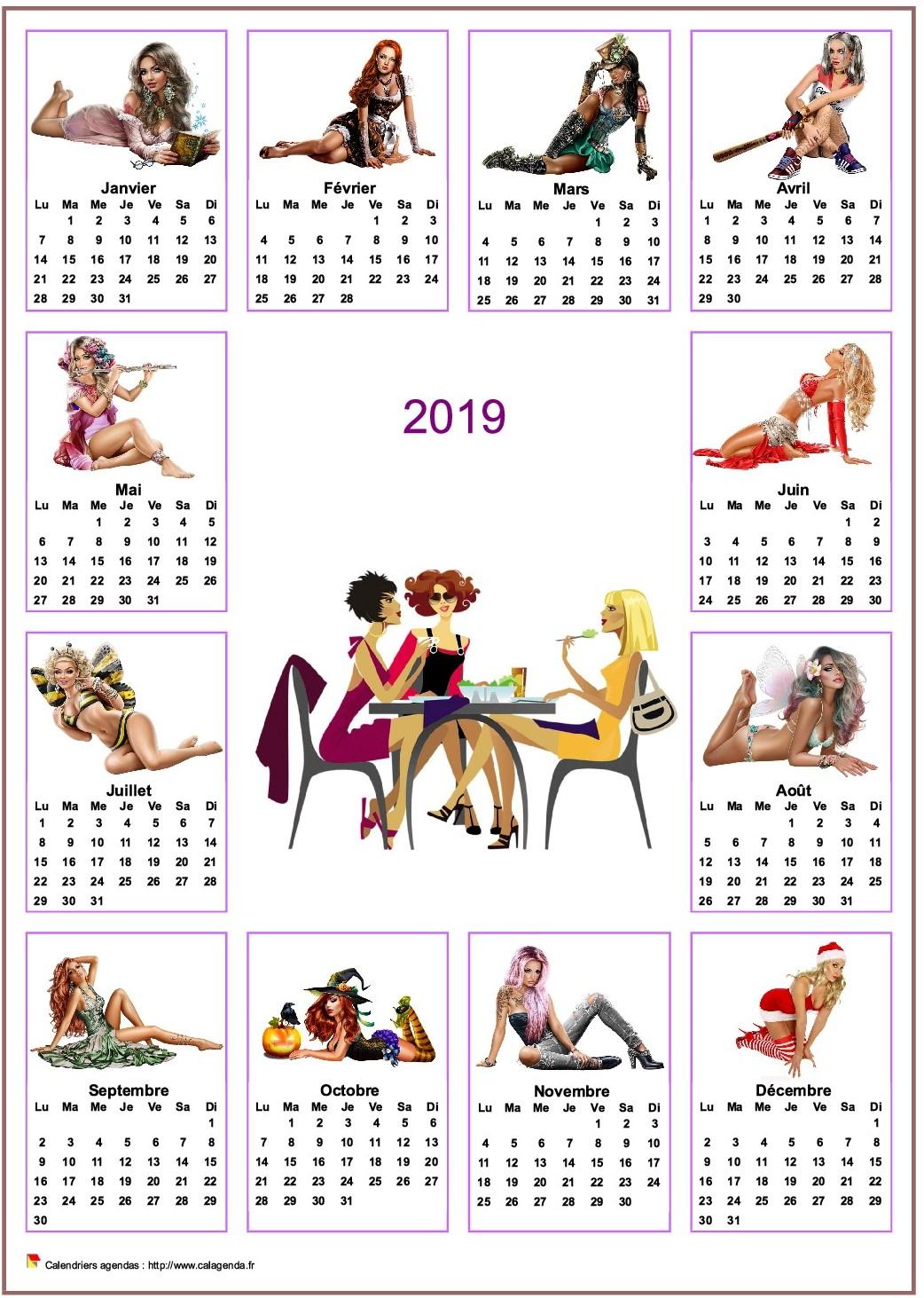 Calendrier 2019 annuel tubes femmes
