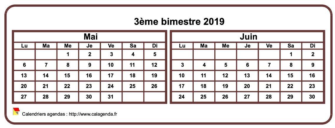 Calendrier 2019 à imprimer bimestriel, format mini de poche, horizontal, fond blanc