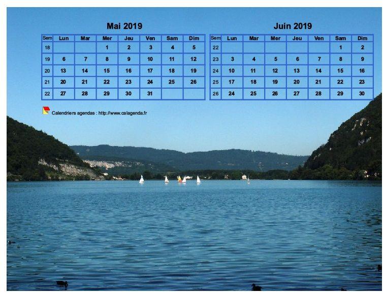 Calendrier 2019 décoratif à imprimer, bimestriel, format paysage, incrusté sur la partie haute d'une photo