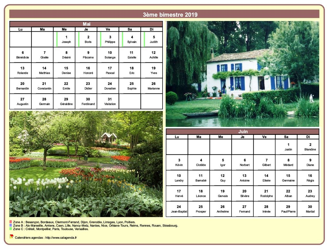 Calendrier 2019 bimestriel avec une photo différente chaque mois