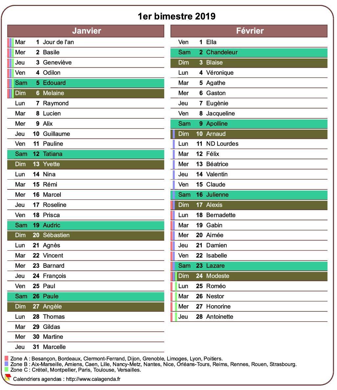 Calendrier 2019 bimestriel avec agenda détaillé, format portrait, une colonne par mois