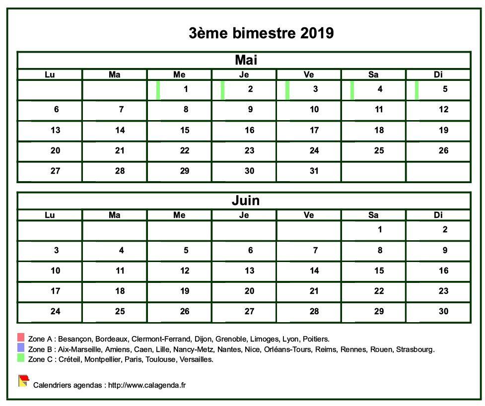 Calendrier 2019 à imprimer bimestriel, format mini de poche, avec les vacances scolaires